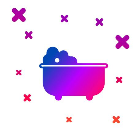 Color Baby bathtub with foam bubbles inside icon isolated on white background. Gradient random dynamic shapes. Vector Illustration