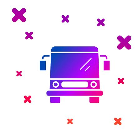 Color Bus icon isolated on white background. Transportation concept. Bus tour transport sign. Tourism or public vehicle symbol. Gradient random dynamic shapes. Vector Illustration Ilustracja