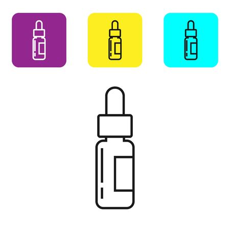 Black line Glass bottle with a pipette. Vial with a pipette inside icon isolated on white background. Container for medical and cosmetic product. Set icons colorful square buttons. Vector Illustration 向量圖像