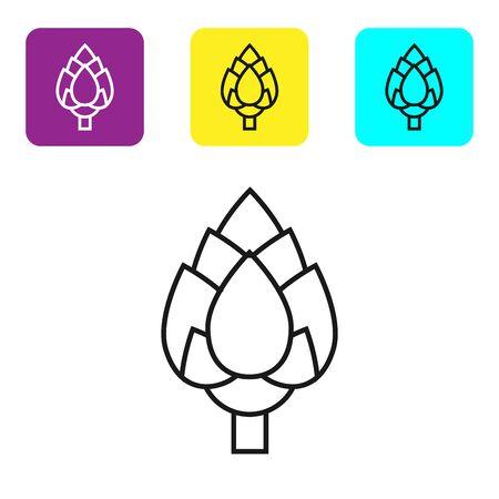 Icono de salto de línea negra aislado sobre fondo blanco. Establecer iconos coloridos botones cuadrados. Ilustración vectorial Ilustración de vector