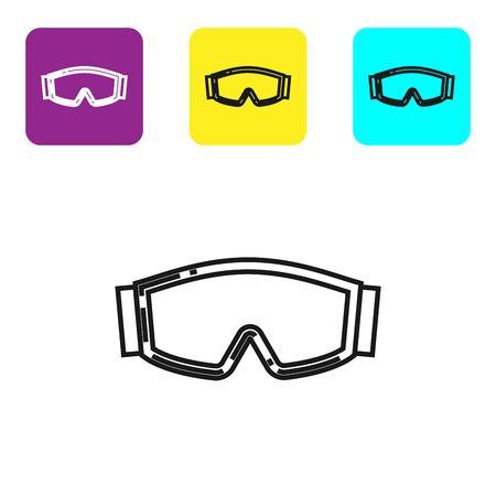Schwarze Linie Skibrillensymbol isoliert auf weißem Hintergrund. Extremsport. Sportausrüstung. Stellen Sie Ikonen bunte quadratische Knöpfe ein. Vektorillustration