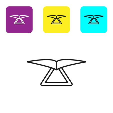 Black line Hang glider icon isolated on white background. Extreme sport. Set icons colorful square buttons. Vector Illustration