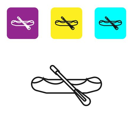 Black line Rafting boat icon isolated on white background. Inflatable boat with paddles. Water sports, extreme sports, holiday, vacation. Set icons colorful square buttons. Vector Illustration