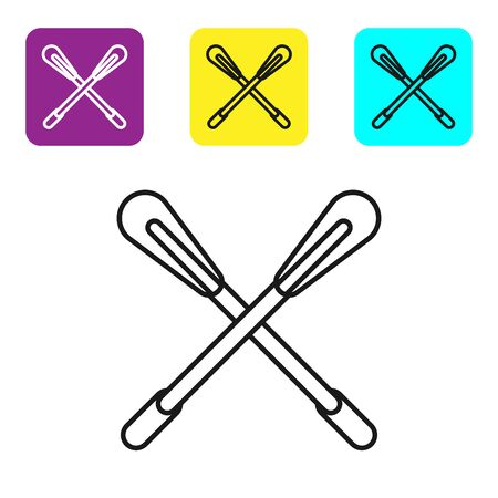 Black line Crossed paddle icon isolated on white background. Paddle boat oars. Set icons colorful square buttons. Vector Illustration Ilustração