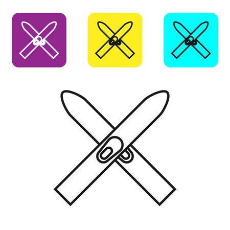 Black line Ski and sticks icon isolated on white background. Extreme sport. Skiing equipment. Winter sports icon. Set icons colorful square buttons. Vector Illustration