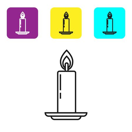 Black line Burning candle in candlestick icon isolated on white background. Old fashioned lit candle. Cylindrical candle stick with burning flame. Set icons colorful square buttons. Vector Illustration Illusztráció