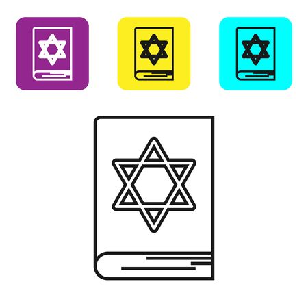 Black line Jewish torah book icon isolated on white background. Pentateuch of Moses. On the cover of the Bible is the image of the Star of David. Set icons colorful square buttons. Vector Illustration