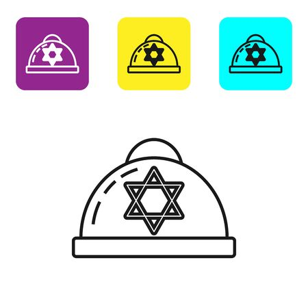 Black line Jewish kippah with star of david icon isolated on white background. Jewish yarmulke hat. Set icons colorful square buttons. Vector Illustration 向量圖像