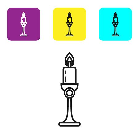 Black line Burning candle in candlestick icon isolated on white background. Old fashioned lit candle. Cylindrical candle stick with burning flame. Set icons colorful square buttons. Vector Illustration