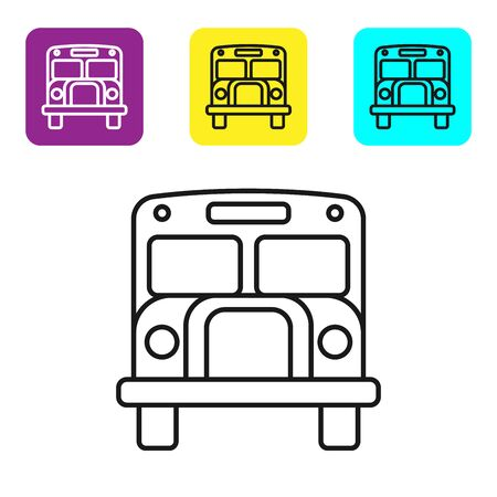 Black line School Bus icon isolated on white background. Public transportation symbol. Set icons colorful square buttons. Vector Illustration