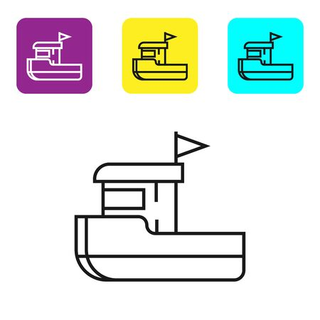 Black line Fishing boat icon isolated on white background. Set icons colorful square buttons. Vector Illustration