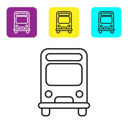 Black line Bus icon isolated on white background. Transportation concept. Bus tour transport sign. Tourism or public vehicle symbol. Set icons colorful square buttons. Vector Illustration