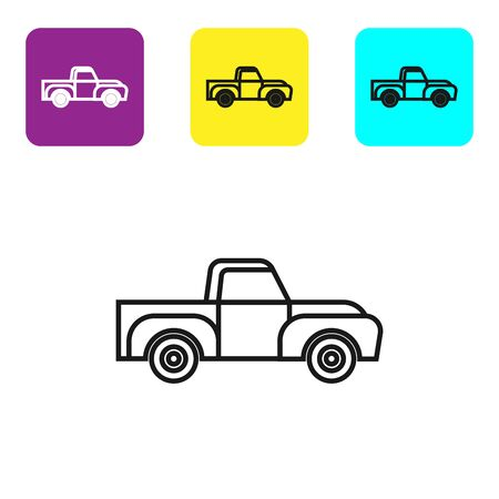 Black line Pickup truck icon isolated on white background. Set icons colorful square buttons. Vector Illustration