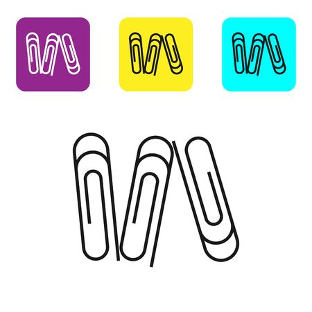 Black line Paper clip icon isolated on white background. Set icons colorful square buttons. Vector Illustration