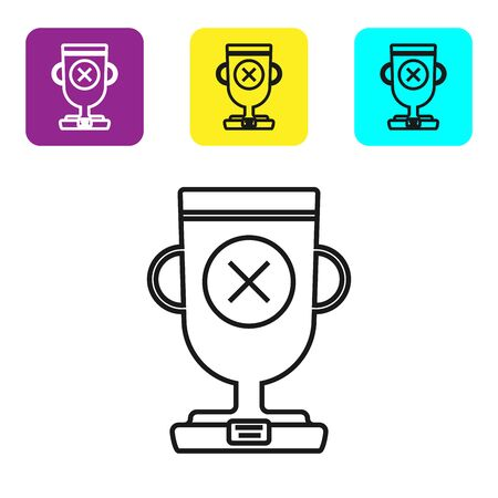 Black line Award cup icon isolated on white background. Winner trophy symbol. Championship or competition trophy. Sports achievement sign. Set icons colorful square buttons. Vector Illustration