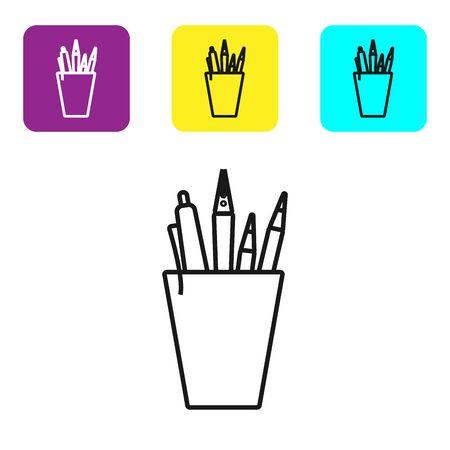 Icône de papeterie crayon ligne noire isolé sur fond blanc. Crayon, stylo, règle dans un verre pour le bureau. Définir des icônes de boutons carrés colorés. Illustration vectorielle