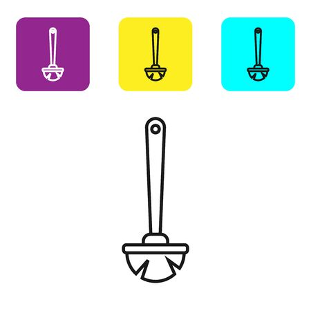 Black line Toilet brush icon isolated on white background. Set icons colorful square buttons. Vector Illustration Фото со стока - 134321796