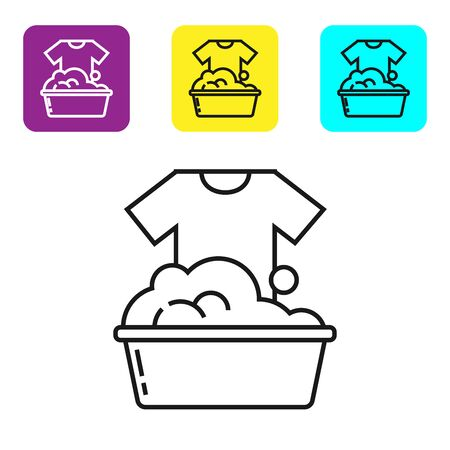 Black line Plastic basin with soap suds icon isolated on white background. Bowl with water. Washing clothes, cleaning equipment. Set icons colorful square buttons. Vector Illustration