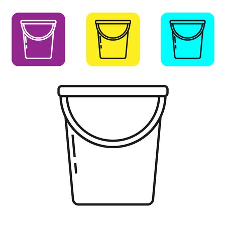 Black line Bucket icon isolated on white background. Set icons colorful square buttons. Vector Illustration Stock fotó - 134321806