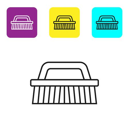 Black line Brush for cleaning icon isolated on white background. Set icons colorful square buttons. Vector Illustration Фото со стока - 134321813