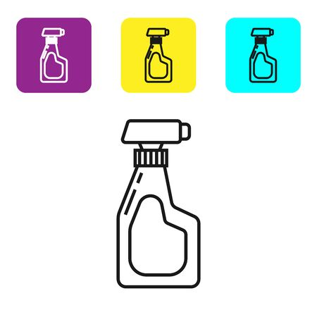 Black line Cleaning spray bottle with detergent liquid icon isolated on white background. Set icons colorful square buttons. Vector Illustration