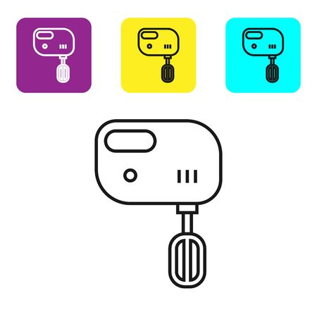 Black line Electric mixer icon isolated on white background. Kitchen blender. Set icons colorful square buttons. Vector Illustration Ilustração