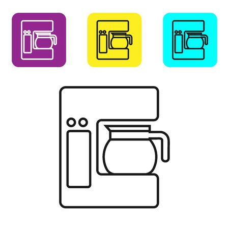 Black line Coffee machine with glass pot icon isolated on white background. Set icons colorful square buttons. Vector Illustration Stock fotó - 134321833