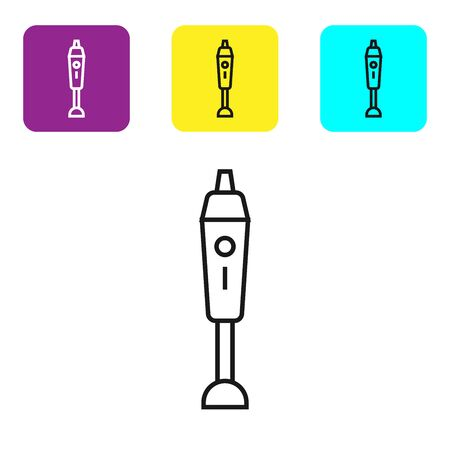Black line Blender icon isolated on white background. Kitchen electric stationary blender with bowl. Cooking smoothies, cocktail or juice. Set icons colorful square buttons. Vector Illustration