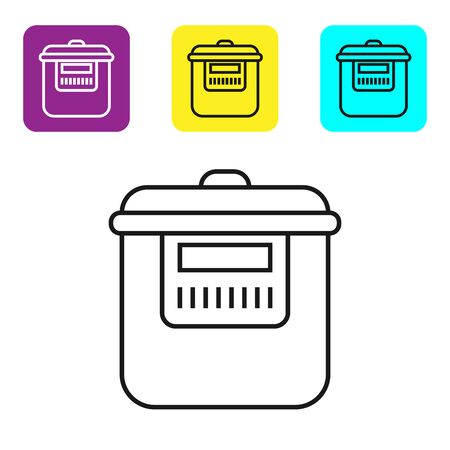 Black line Slow cooker icon isolated on white background. Electric pan. Set icons colorful square buttons. Vector Illustration Stock fotó - 134321831