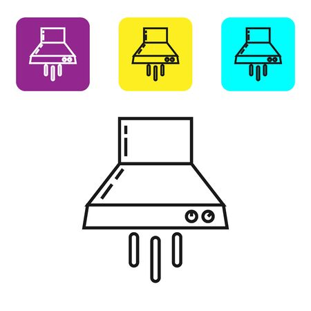 Black line Kitchen extractor fan icon isolated on white background. Cooker hood. Kitchen exhaust. Household appliance. Set icons colorful square buttons. Vector Illustration