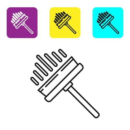 Black line Cleaning service with of rubber cleaner for windows icon isolated on white background. Squeegee, scraper, wiper. Set icons colorful square buttons. Vector Illustration