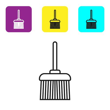 Black line Handle broom icon isolated on white background. Cleaning service concept. Set icons colorful square buttons. Vector Illustration