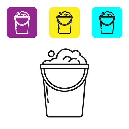 Black line Bucket with foam and bubbles icon isolated on white background. Cleaning service concept. Set icons colorful square buttons. Vector Illustration
