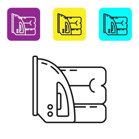 Black line Electric iron and towel icon isolated on white background. Steam iron. Set icons colorful square buttons. Vector Illustration
