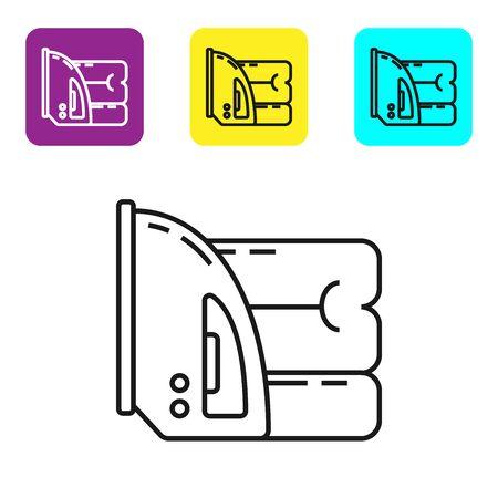 Icône de fer et serviette électrique ligne noire isolé sur fond blanc. Fer à vapeur. Définir des icônes de boutons carrés colorés. Illustration vectorielle