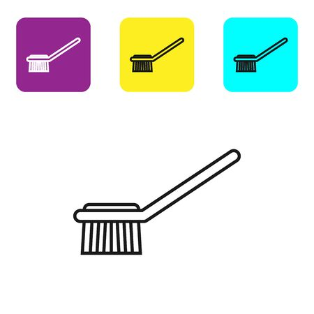 Black line Toilet brush icon isolated on white background. Set icons colorful square buttons. Vector Illustration Фото со стока - 134321868