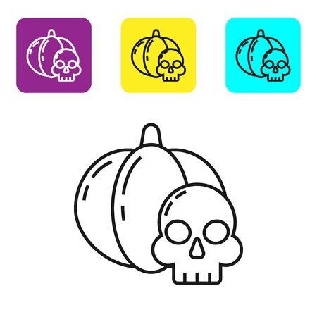 Black line Pumpkin and skull icon isolated on white background. Happy Halloween party. Set icons colorful square buttons. Vector Illustration