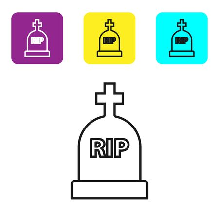 Black line Tombstone with RIP written on it icon isolated on white background. Grave icon. Set icons colorful square buttons. Vector Illustration