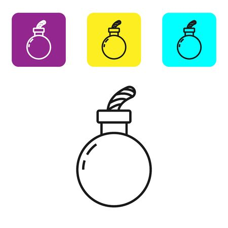 Black line Bomb ready to explode icon isolated on white background. Happy Halloween party. Set icons colorful square buttons. Vector Illustration