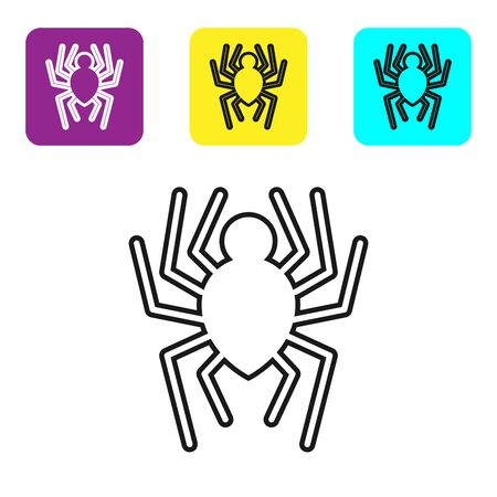 Black line Spider icon isolated on white background. Happy Halloween party. Set icons colorful square buttons. Vector Illustration Ilustração