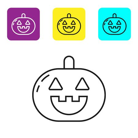 Black line Pumpkin icon isolated on white background. Happy Halloween party. Set icons colorful square buttons. Vector Illustration