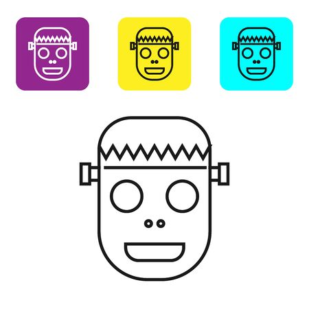 Black line Zombie mask icon isolated on white background. Happy Halloween party. Set icons colorful square buttons. Vector Illustration