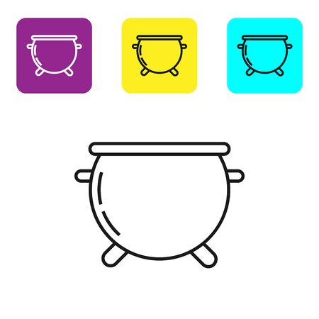 Black line Halloween witch cauldron icon isolated on white background. Happy Halloween party. Set icons colorful square buttons. Vector Illustration Stock fotó - 134321902