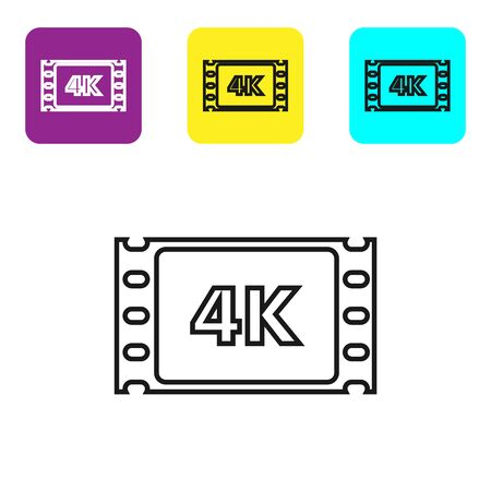 Black line 4k movie, tape, frame icon isolated on white background. Set icons colorful square buttons. Vector Illustration