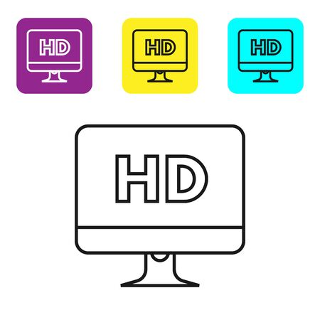 Black line Computer PC monitor display with HD video technology icon isolated on white background. Set icons colorful square buttons. Vector Illustration Vektoros illusztráció