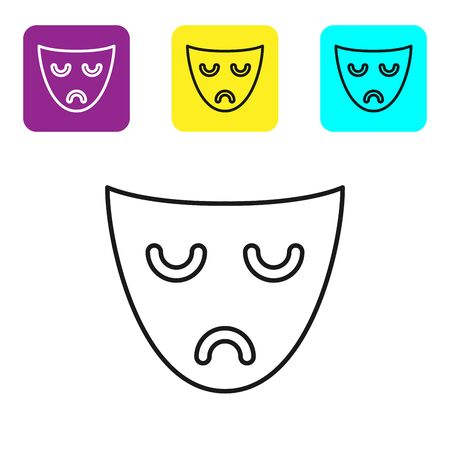 Black line Drama theatrical mask icon isolated on white background. Set icons colorful square buttons. Vector Illustration