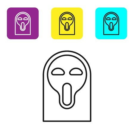 Black line Funny and scary ghost mask for Halloween icon isolated on white background. Happy Halloween party. Set icons colorful square buttons. Vector Illustration