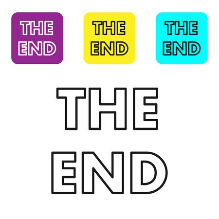 Black line The End handwritten inscription icon isolated on white background. Closing movie frame. Movie ending screen. Set icons colorful square buttons. Vector Illustration