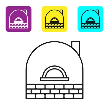 Black line Brick stove icon isolated on white background. Brick fireplace, masonry stove, stone oven icon.Set icons colorful square buttons. Vector Illustration