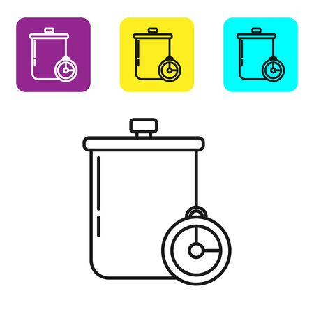 Black line Cooking pot and kitchen timer icon isolated on white background. Boil or stew food symbol. Set icons colorful square buttons. Vector Illustration Stock fotó - 134322065